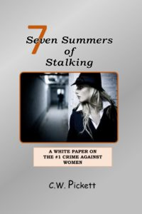 Book cover of woman looking at stalker